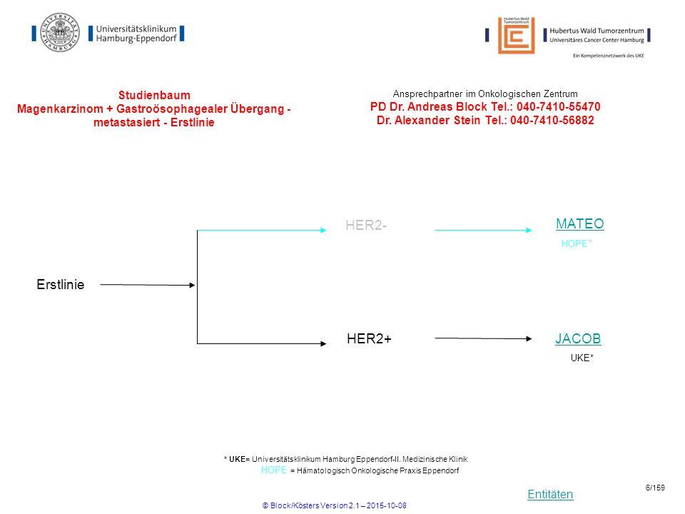 Entitäten Studienbaum Magenkarzinom + Gastroösophagealer Übergang - metastasiert - Erstlinie Erstlinie HER2+JACOB UKE* * UKE= Universitätsklinikum Ham