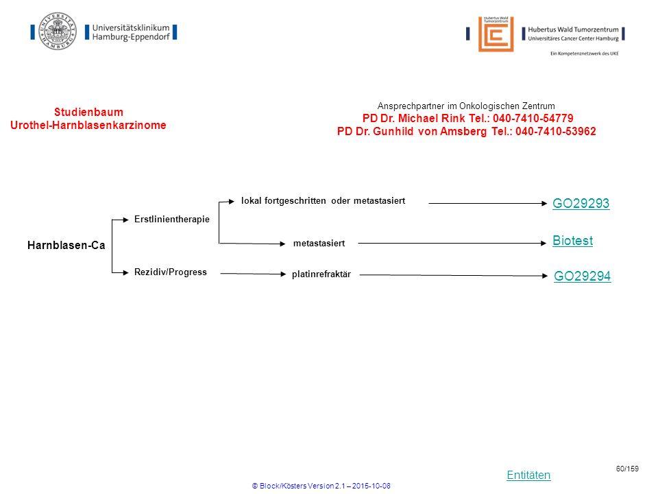 Entitäten Studienbaum Urothel-Harnblasenkarzinome Ansprechpartner im Onkologischen Zentrum PD Dr. Michael Rink Tel.: 040-7410-54779 PD Dr. Gunhild von