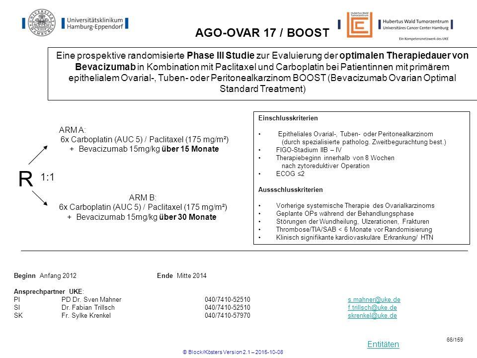 Entitäten AGO-OVAR 17 / BOOST Eine prospektive randomisierte Phase III Studie zur Evaluierung der optimalen Therapiedauer von Bevacizumab in Kombinati