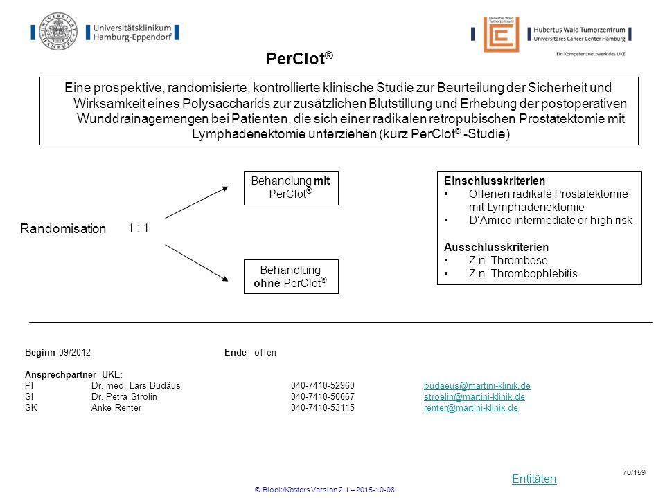 Entitäten PerClot ® Einschlusskriterien Offenen radikale Prostatektomie mit Lymphadenektomie D'Amico intermediate or high risk Ausschlusskriterien Z.n