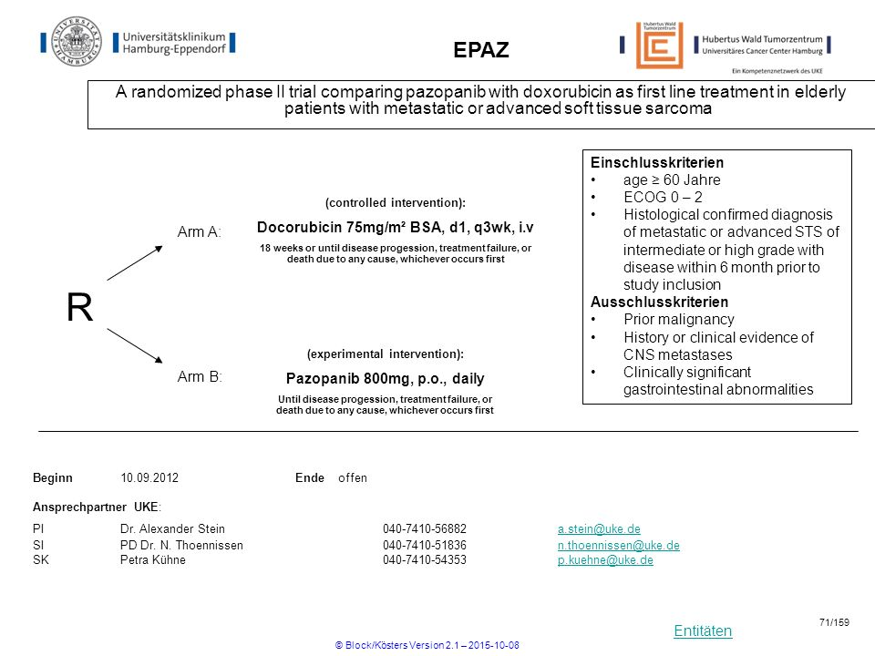Entitäten EPAZ A randomized phase II trial comparing pazopanib with doxorubicin as first line treatment in elderly patients with metastatic or advance