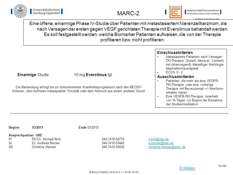 Entitäten MARC-2 Eine offene, einarmige Phase IV-Studie über Patienten mit metastasiertem Nierenzellkarzinom, die nach Versagen der ersten gegen VEGF