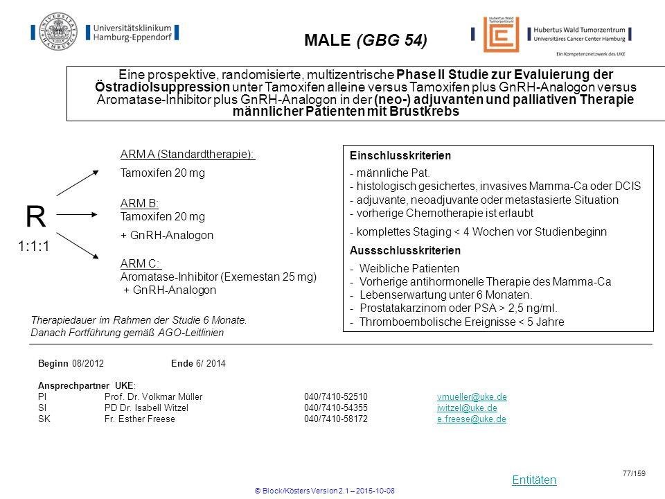 Entitäten MALE (GBG 54) Eine prospektive, randomisierte, multizentrische Phase II Studie zur Evaluierung der Östradiolsuppression unter Tamoxifen alle