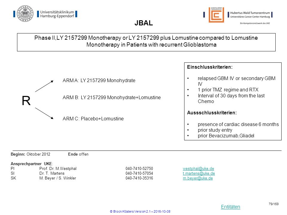 Entitäten JBAL Phase II,LY 2157299 Monotherapy or LY 2157299 plus Lomustine compared to Lomustine Monotherapy in Patients with recurrent Glioblastoma