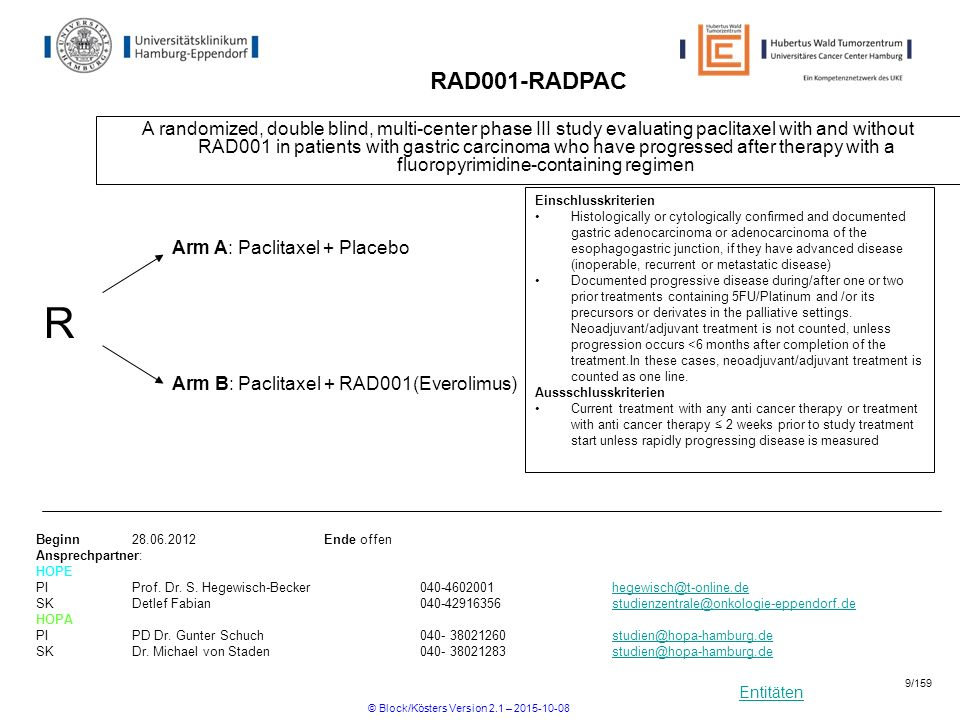 Entitäten SC-Apherese(SC-Apherese) Scree ning Placebo- DHAP Placebo- DHAP randomization Ever- DHAP (PET-)CT - 28 1536 HD-R3i-Phase II Phase II Studie zur Bewertung der Sicherheit von RAD001 (Everolimus) in Kombination mit DHAP- Standardchemotherapie bei Patienten mit rezidiviertem oder refraktärem Hodgkin Lymphom danach folgt i.