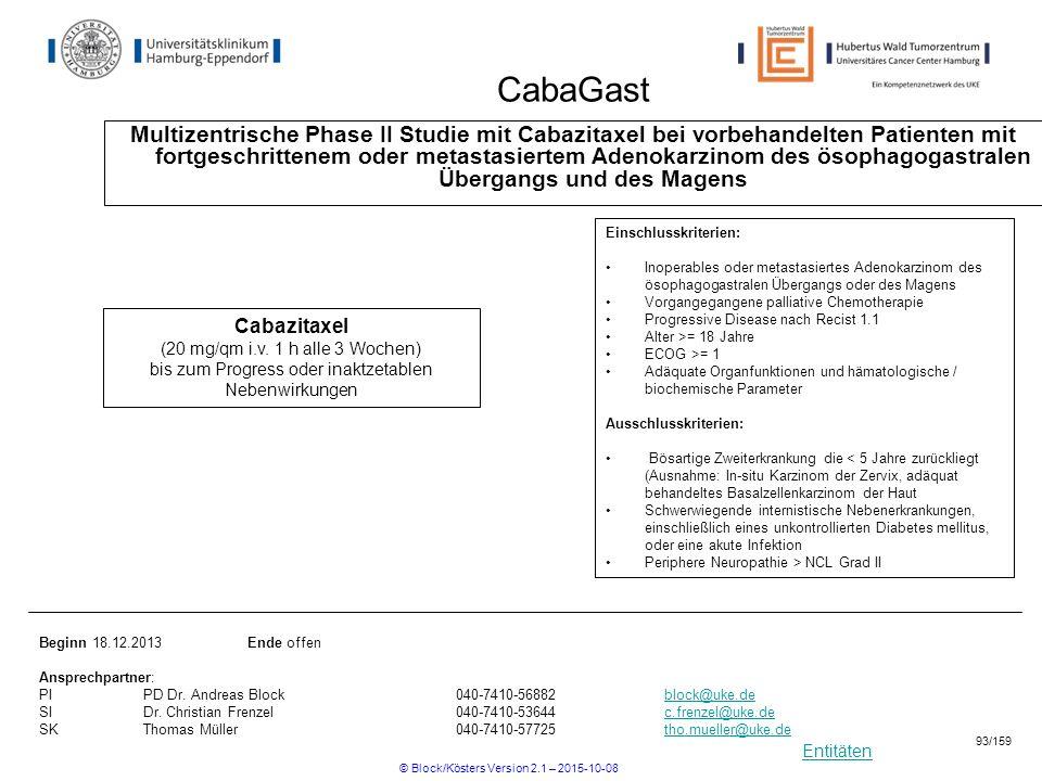 Entitäten CabaGast Multizentrische Phase II Studie mit Cabazitaxel bei vorbehandelten Patienten mit fortgeschrittenem oder metastasiertem Adenokarzino