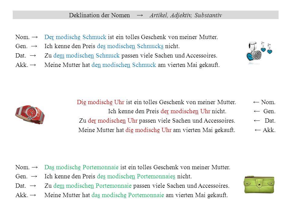 Deklination der Nomen → Artikel, Substantiv, Adjektiv, Pronomen, Ordinalzahl Nom.