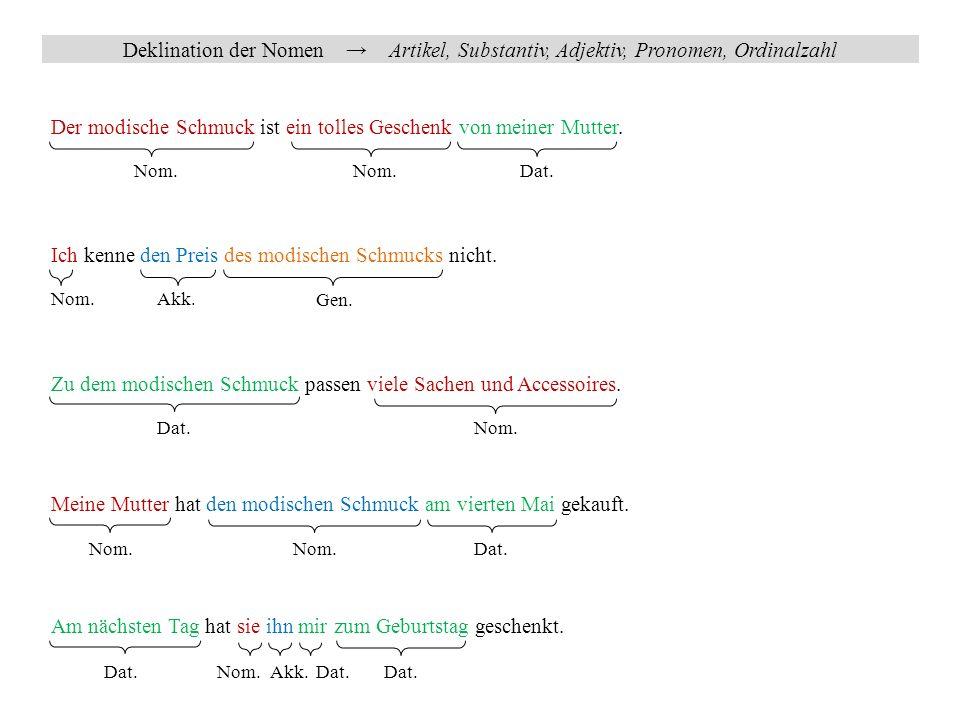 Deklination der Nomen → Personalpronomen 1.Person 2.