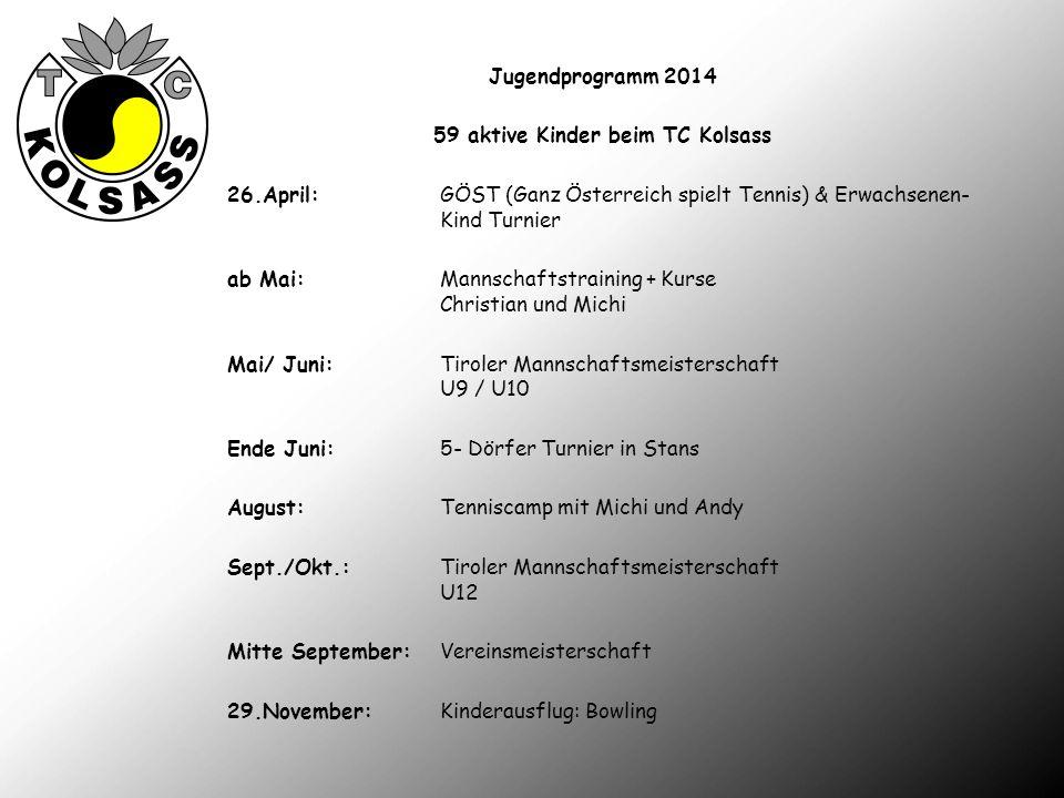 Jugendprogramm 2014 59 aktive Kinder beim TC Kolsass 26.April:GÖST (Ganz Österreich spielt Tennis) & Erwachsenen- Kind Turnier ab Mai:Mannschaftstrain