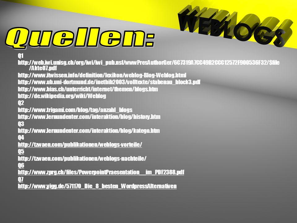 Q1 http://web.iwi.unisg.ch/org/iwi/iwi_pub.nsf/wwwPresAuthorGer/6C7319A7CC49B2CCC12572F900536F32/$file /Akte07.pdf http://www.itwissen.info/definition/lexikon/weblog-Blog-Weblog.html http://www.ub.uni-dortmund.de/inetbib2003/volltexte/stabenau_block3.pdf http://www.bias.ch/unterricht/internet/themen/blogs.htm http://de.wikipedia.org/wiki/Weblog Q2 http://www.trigami.com/blog/tag/anzahl_blogs http://www.lernundenter.com/interaktion/blog/history.htm Q3 http://www.lernundenter.com/interaktion/blog/katego.htm Q4 http://tzwaen.com/publikationen/weblogs-vorteile/ Q5 http://tzwaen.com/publikationen/weblogs-nachteile/ Q6 http://www.zprg.ch/files/PowerpointPraesentation__im_PDF2388.pdf Q7 http://www.yigg.de/571170_Die_8_besten_WordpressAlternativen