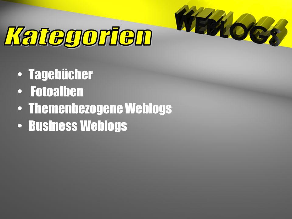 Tagebücher Fotoalben Themenbezogene Weblogs Business Weblogs