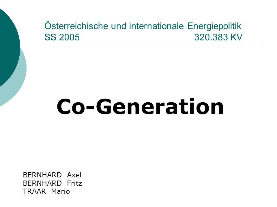 Österreichische und internationale Energiepolitik SS 2005 320.383 KV Co-Generation BERNHARD Axel BERNHARD Fritz TRAAR Mario