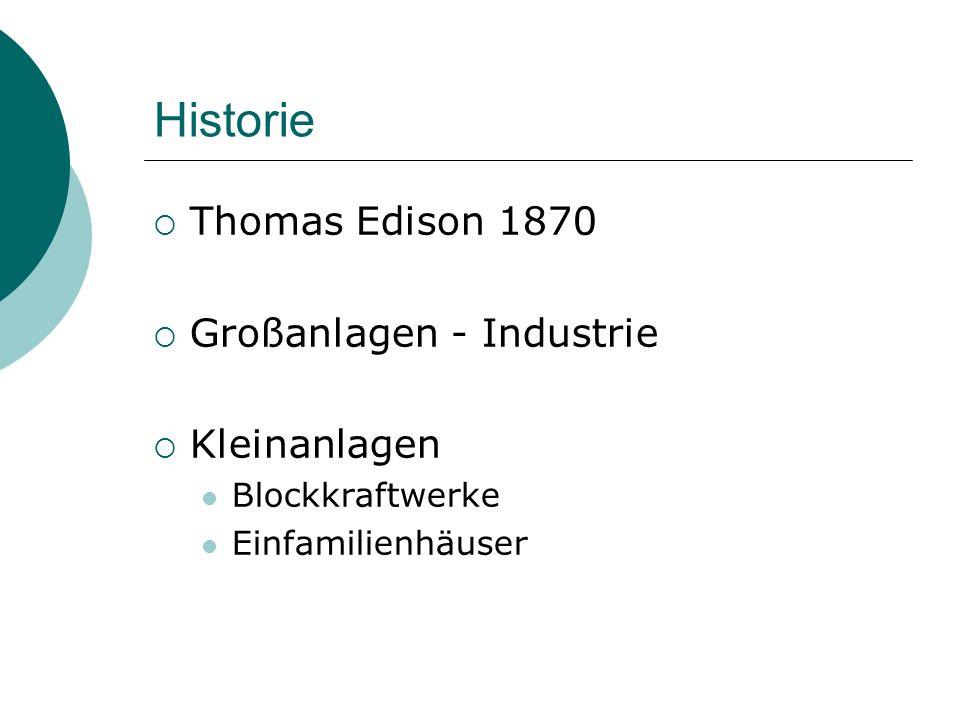 Historie  Thomas Edison 1870  Großanlagen - Industrie  Kleinanlagen Blockkraftwerke Einfamilienhäuser
