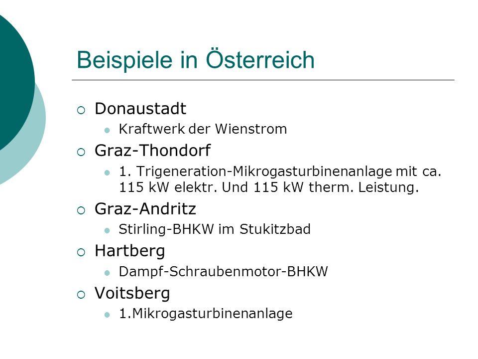 Beispiele in Österreich  Donaustadt Kraftwerk der Wienstrom  Graz-Thondorf 1. Trigeneration-Mikrogasturbinenanlage mit ca. 115 kW elektr. Und 115 kW