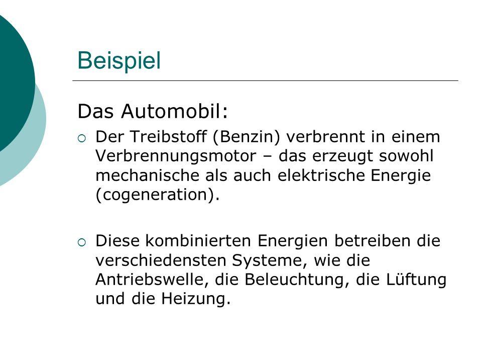 Beispiel Das Automobil:  Der Treibstoff (Benzin) verbrennt in einem Verbrennungsmotor – das erzeugt sowohl mechanische als auch elektrische Energie (