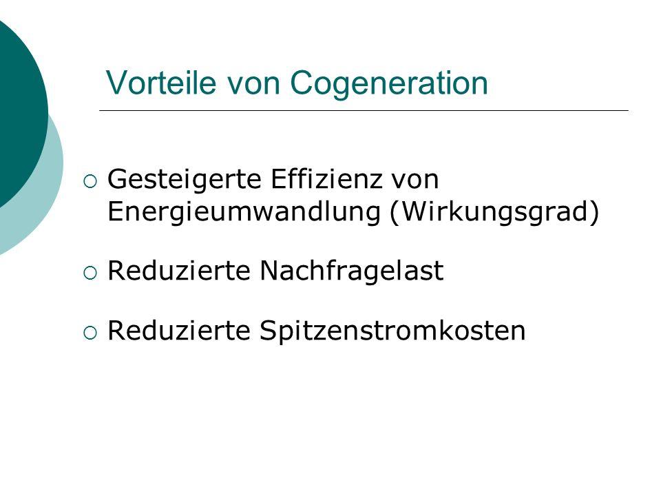 Vorteile von Cogeneration  Gesteigerte Effizienz von Energieumwandlung (Wirkungsgrad)  Reduzierte Nachfragelast  Reduzierte Spitzenstromkosten