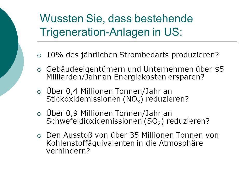 Wussten Sie, dass bestehende Trigeneration-Anlagen in US:  10% des jährlichen Strombedarfs produzieren?  Gebäudeeigentümern und Unternehmen über $5