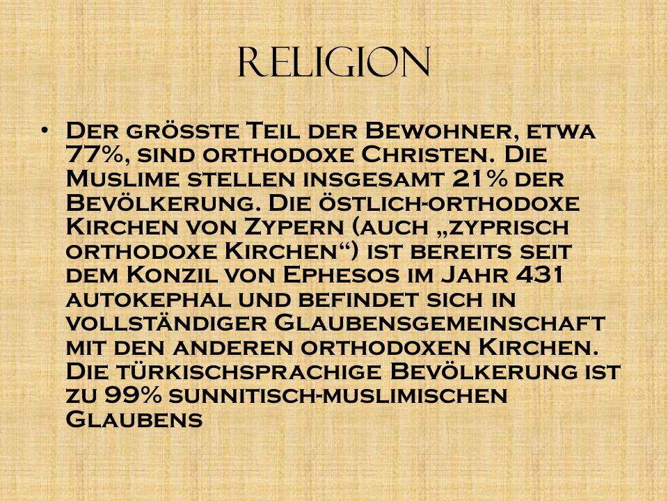 Religion D er größte Teil der Bewohner, etwa 77%, sind orthodoxe Christen. Die Muslime stellen insgesamt 21% der Bevölkerung. Die östlich-orthodoxe Ki