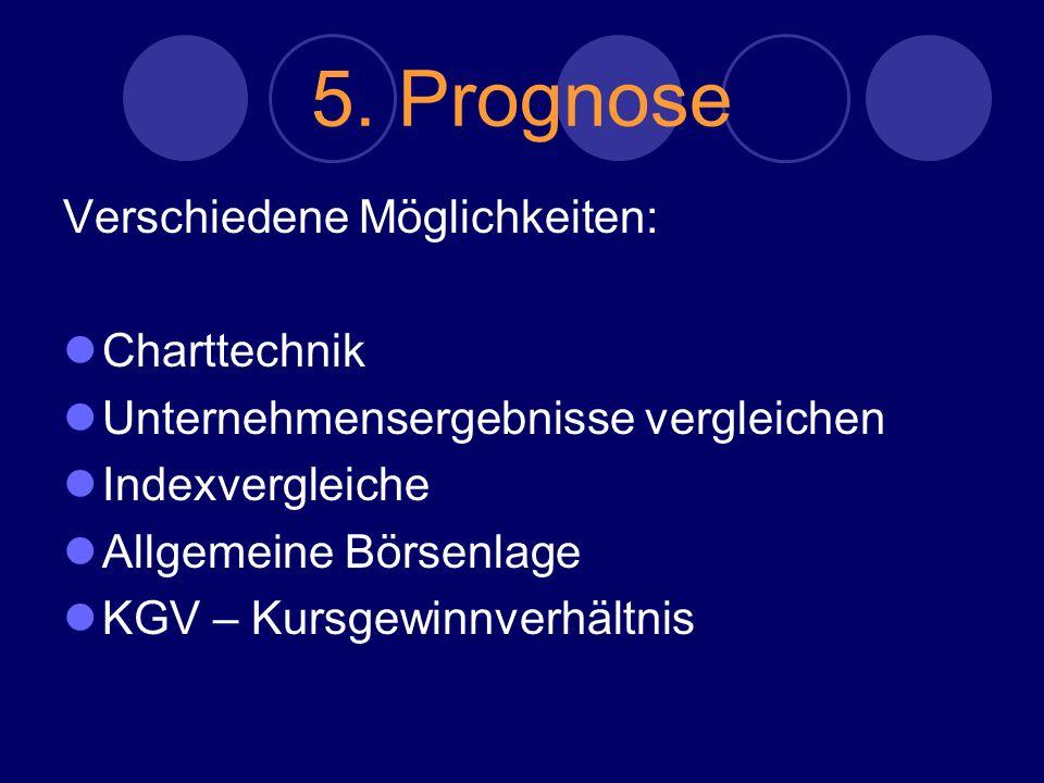 5. Prognose Verschiedene Möglichkeiten: Charttechnik Unternehmensergebnisse vergleichen Indexvergleiche Allgemeine Börsenlage KGV – Kursgewinnverhältn