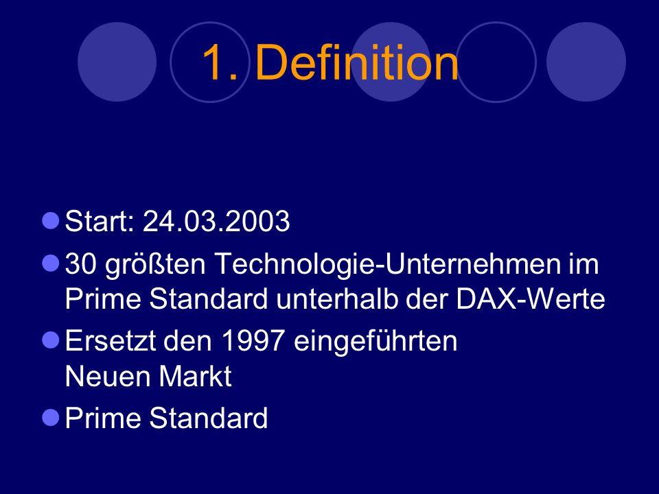 1. Definition Start: 24.03.2003 30 größten Technologie-Unternehmen im Prime Standard unterhalb der DAX-Werte Ersetzt den 1997 eingeführten Neuen Markt