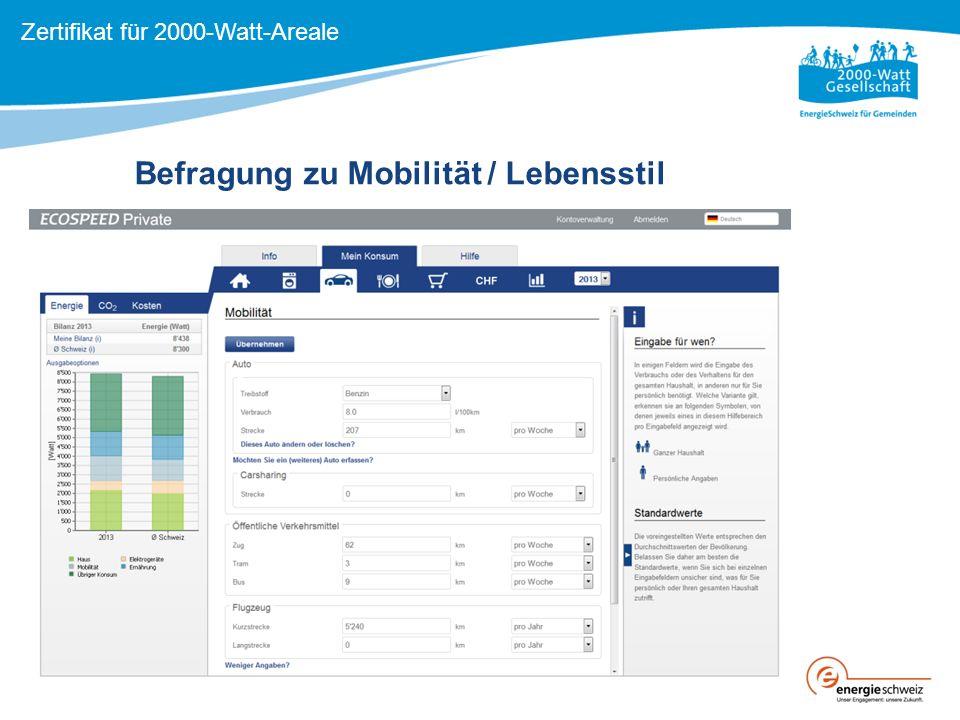 Befragung zu Mobilität / Lebensstil Zertifikat für 2000-Watt-Areale