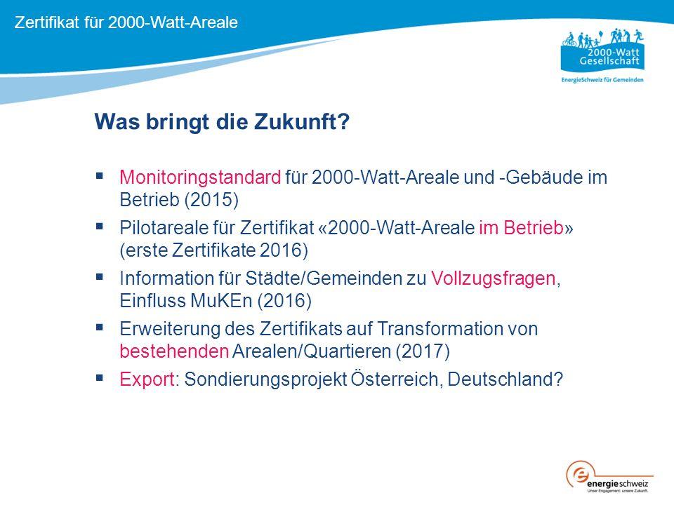  Monitoringstandard für 2000-Watt-Areale und -Gebäude im Betrieb (2015)  Pilotareale für Zertifikat «2000-Watt-Areale im Betrieb» (erste Zertifikate