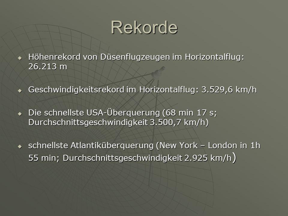 Rekorde  Höhenrekord von Düsenflugzeugen im Horizontalflug: 26.213 m  Geschwindigkeitsrekord im Horizontalflug: 3.529,6 km/h  Die schnellste USA-Üb