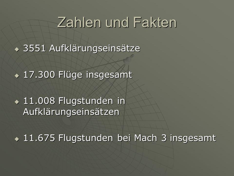 Zahlen und Fakten  3551 Aufklärungseinsätze  17.300 Flüge insgesamt  11.008 Flugstunden in Aufklärungseinsätzen  11.675 Flugstunden bei Mach 3 ins