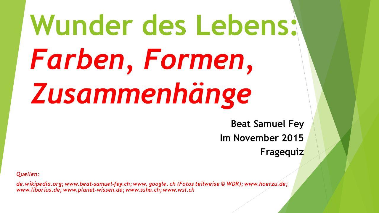 Wunder des Lebens: Farben, Formen, Zusammenhänge Beat Samuel Fey Im November 2015 Fragequiz Quellen: de.wikipedia.org; www.beat-samuel-fey.ch; www. go