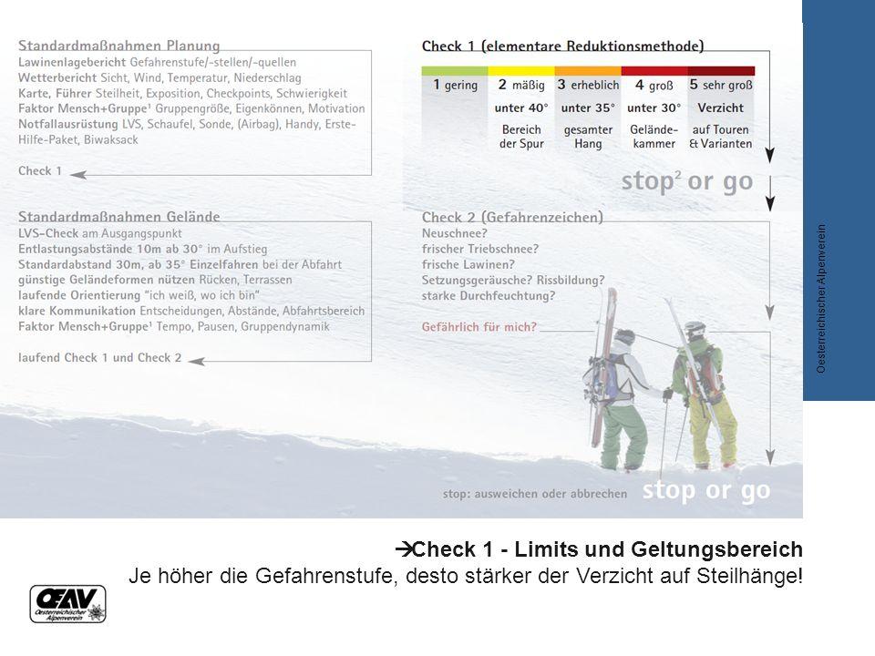  Check 1 - Limits und Geltungsbereich Je höher die Gefahrenstufe, desto stärker der Verzicht auf Steilhänge! Oesterreichischer Alpenverein
