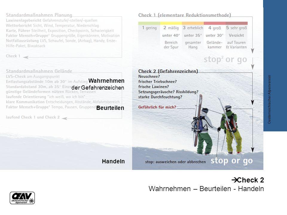  Check 2 Wahrnehmen – Beurteilen - Handeln Oesterreichischer Alpenverein Wahrnehmen der Gefahrenzeichen Beurteilen Handeln