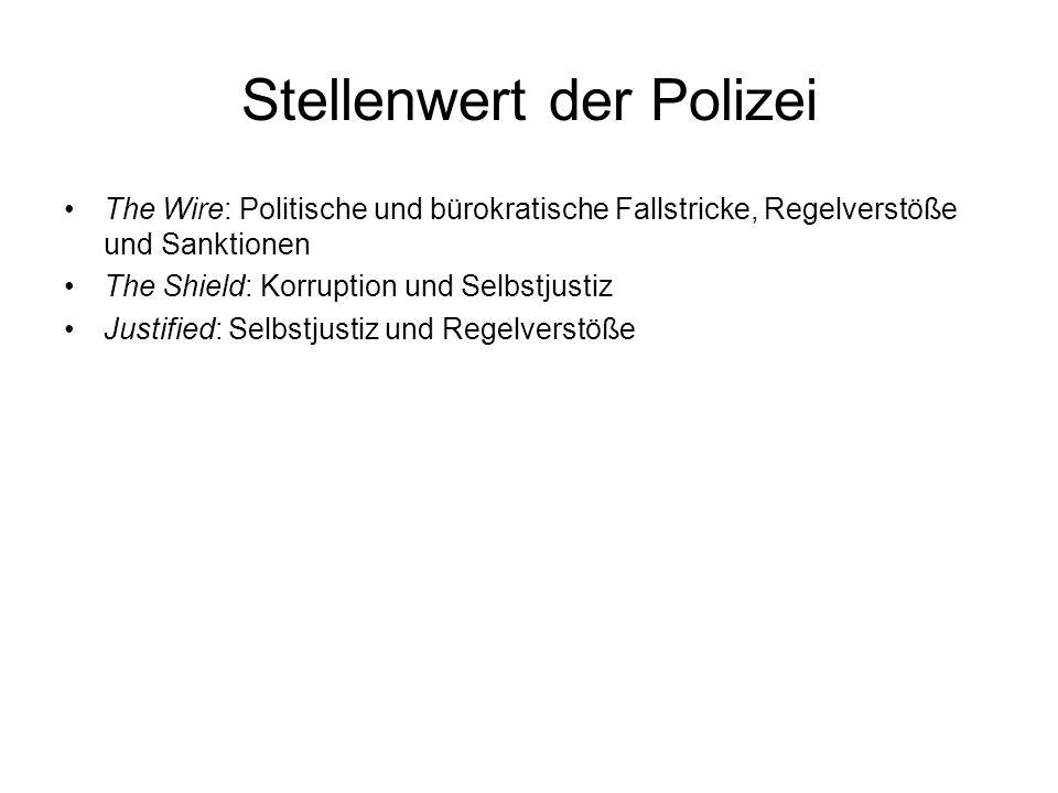 Stellenwert der Polizei The Wire: Politische und bürokratische Fallstricke, Regelverstöße und Sanktionen The Shield: Korruption und Selbstjustiz Justified: Selbstjustiz und Regelverstöße