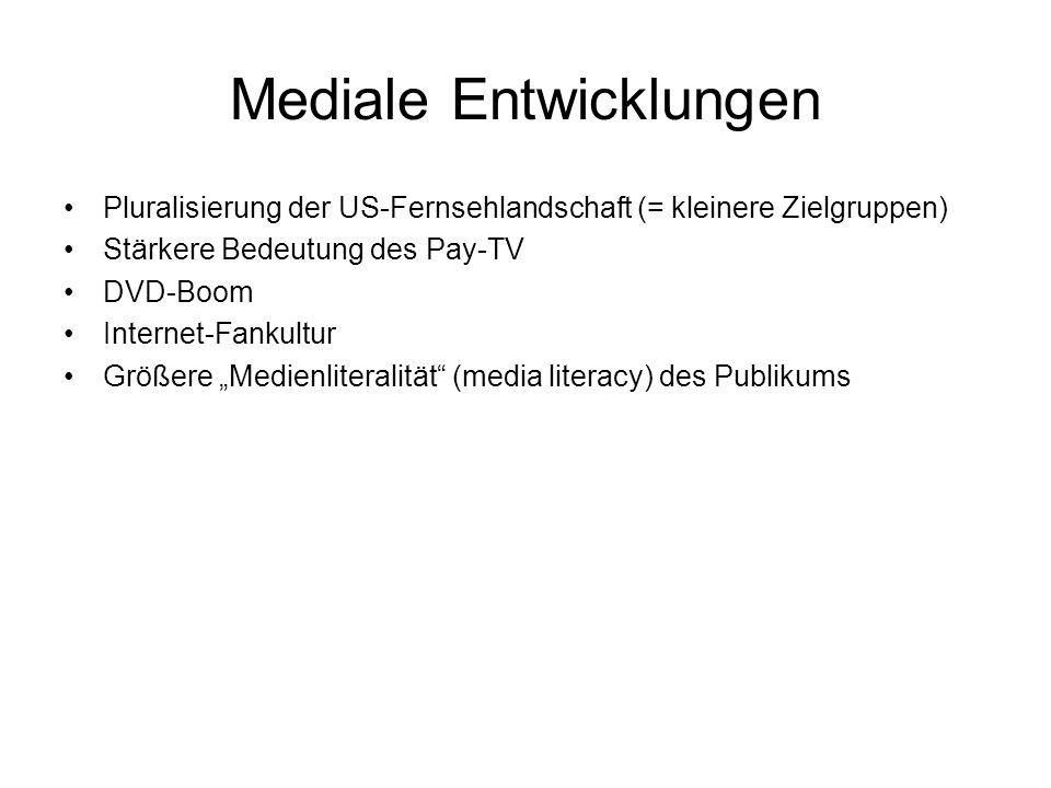 """Mediale Entwicklungen Pluralisierung der US-Fernsehlandschaft (= kleinere Zielgruppen) Stärkere Bedeutung des Pay-TV DVD-Boom Internet-Fankultur Größere """"Medienliteralität (media literacy) des Publikums"""