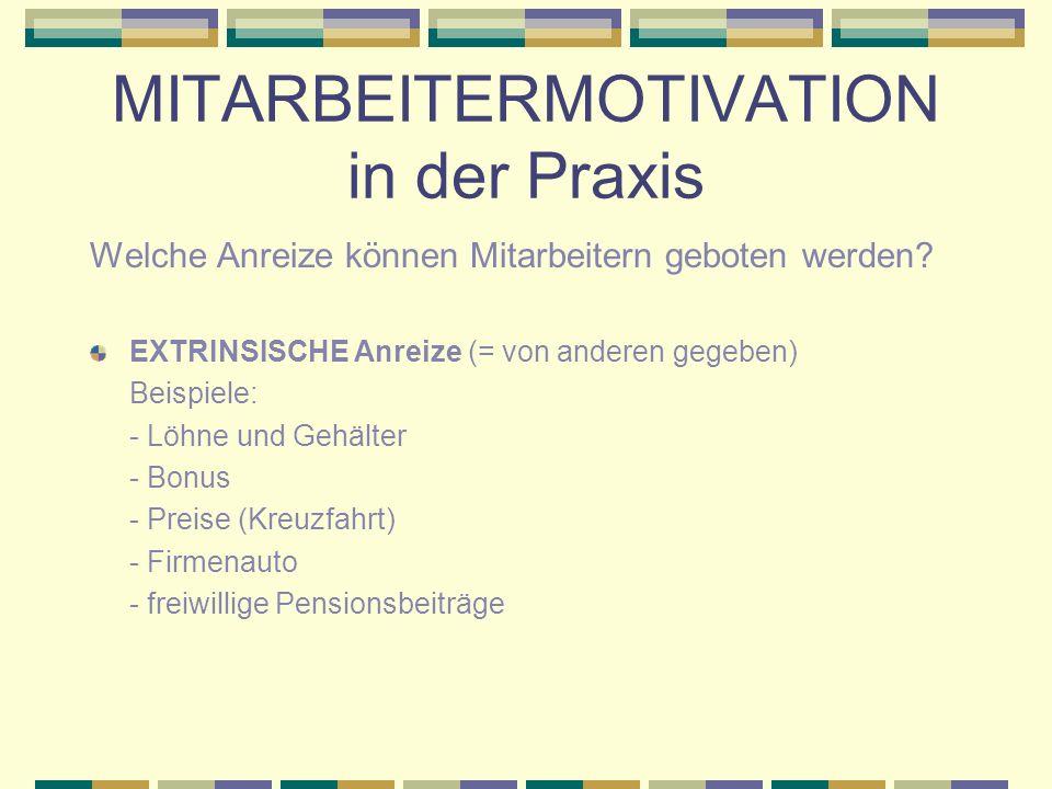 MITARBEITERMOTIVATION in der Praxis Welche Anreize können Mitarbeitern geboten werden.