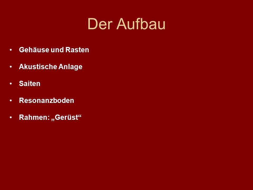 """Der Aufbau Gehäuse und Rasten Akustische Anlage Saiten Resonanzboden Rahmen: """"Gerüst"""""""