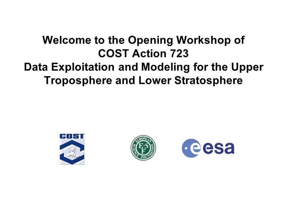 Institut für Umweltphysik Physik/Elektrotechnik Fachbereich 1 COST723 Opening Workshop, ESTEC, 11.-13. 03. 2004 / Stefan Buehler Welcome to the Openin