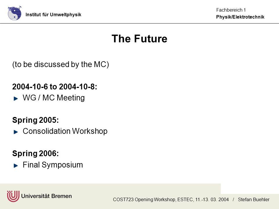 Institut für Umweltphysik Physik/Elektrotechnik Fachbereich 1 COST723 Opening Workshop, ESTEC, 11.-13. 03. 2004 / Stefan Buehler The Future (to be dis
