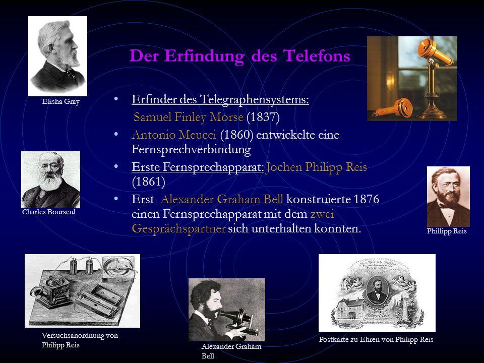 Der Erfindung des Telefons Erfinder des Telegraphensystems: Samuel Finley Morse (1837) Antonio Meucci (1860) entwickelte eine Fernsprechverbindung Erste Fernsprechapparat: Jochen Philipp Reis (1861) Erst Alexander Graham Bell konstruierte 1876 einen Fernsprechapparat mit dem zwei Gesprächspartner sich unterhalten konnten.