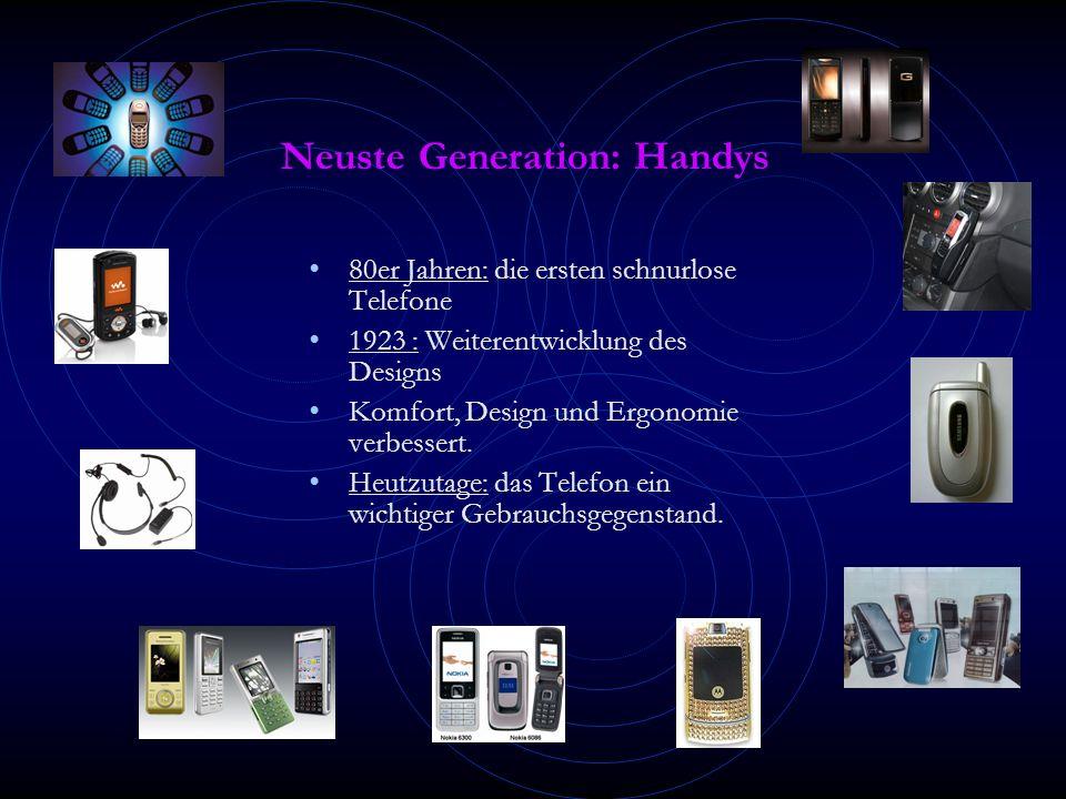 Neuste Generation: Handys 80er Jahren: die ersten schnurlose Telefone 1923 : Weiterentwicklung des Designs Komfort, Design und Ergonomie verbessert.