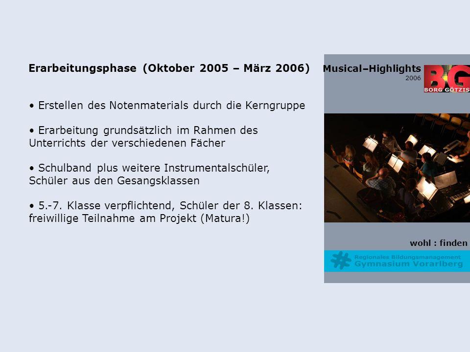 wohl : finden Musical–Highlights 2006 Erarbeitungsphase (Oktober 2005 – März 2006) Erstellen des Notenmaterials durch die Kerngruppe Erarbeitung grundsätzlich im Rahmen des Unterrichts der verschiedenen Fächer Schulband plus weitere Instrumentalschüler, Schüler aus den Gesangsklassen 5.-7.