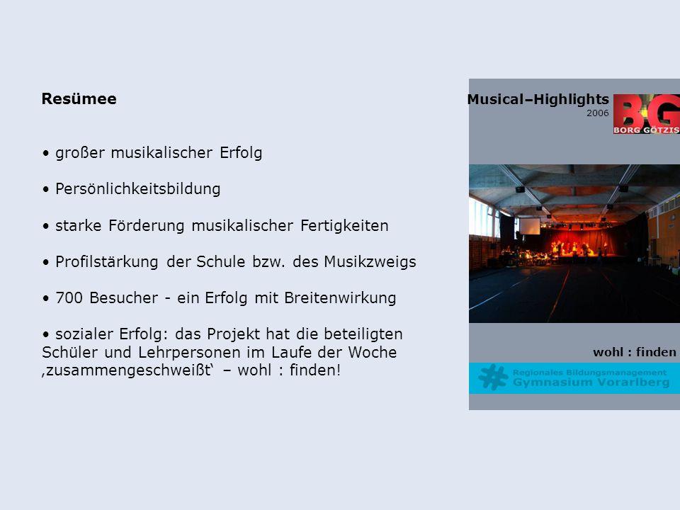 wohl : finden Musical–Highlights 2006 Resümee großer musikalischer Erfolg Persönlichkeitsbildung starke Förderung musikalischer Fertigkeiten Profilstärkung der Schule bzw.
