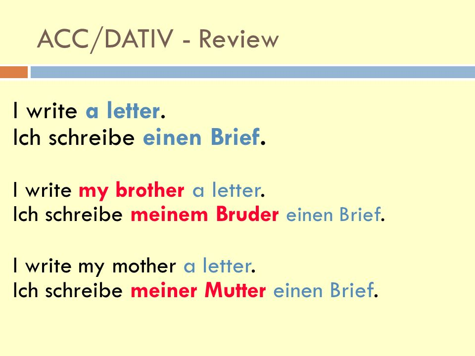 Accusative has the following forms: definite articles der => den der Freund: Ich sehe den Freund.
