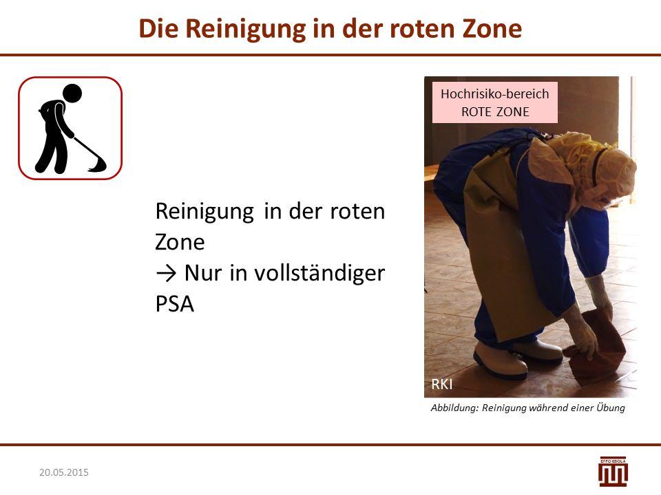 Die Reinigung in der roten Zone Reinigung in der roten Zone → Nur in vollständiger PSA 20.05.2015 Hochrisiko-bereich ROTE ZONE Abbildung: Reinigung wä