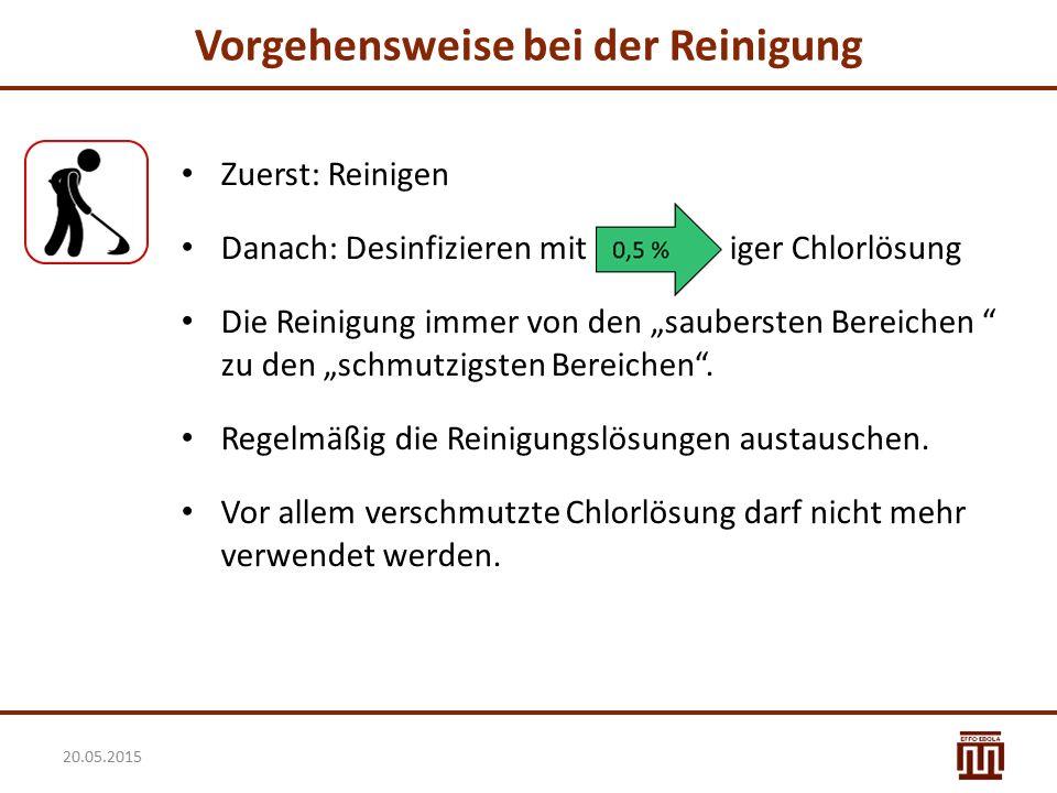 """Vorgehensweise bei der Reinigung Zuerst: Reinigen Danach: Desinfizieren mit iger Chlorlösung Die Reinigung immer von den """"saubersten Bereichen """" zu de"""