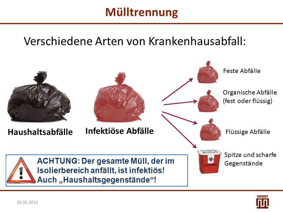 Mülltrennung Verschiedene Arten von Krankenhausabfall: Haushaltsabfälle Feste Abfälle Organische Abfälle (fest oder flüssig) Spitze und scharfe Gegens