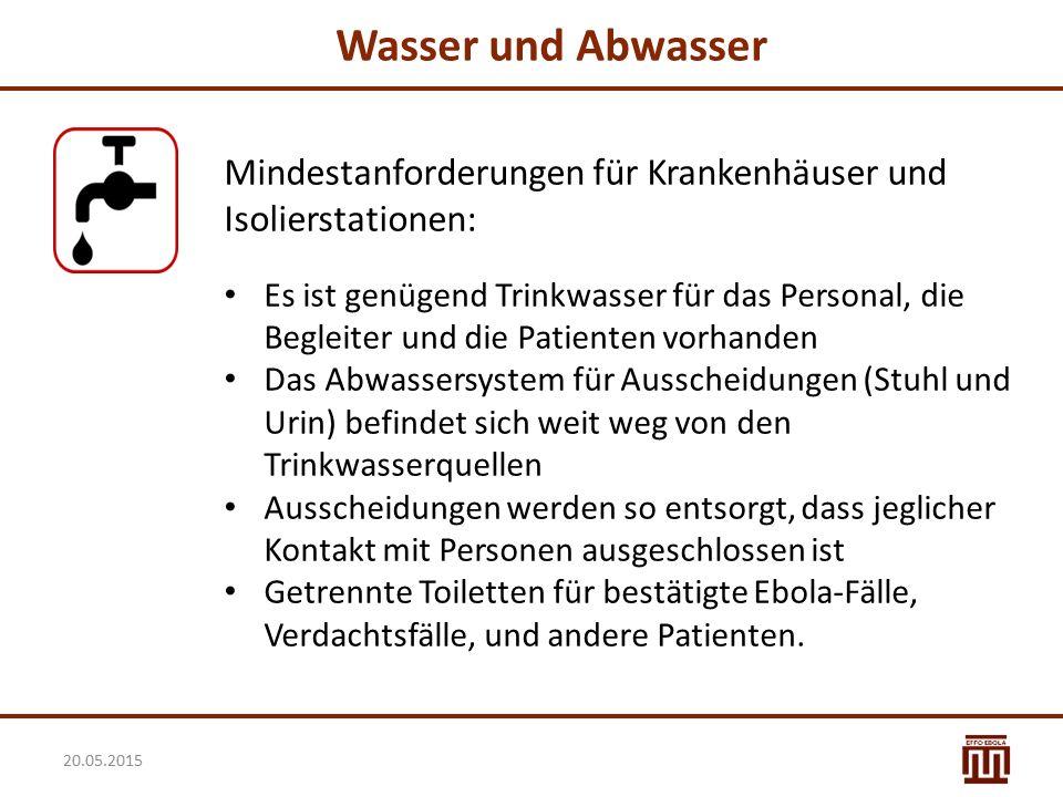 Wasser und Abwasser Mindestanforderungen für Krankenhäuser und Isolierstationen: Es ist genügend Trinkwasser für das Personal, die Begleiter und die P