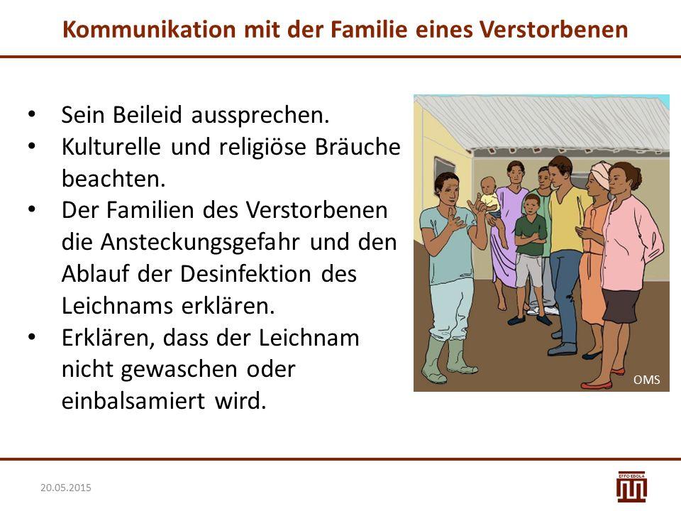 Kommunikation mit der Familie eines Verstorbenen Sein Beileid aussprechen. Kulturelle und religiöse Bräuche beachten. Der Familien des Verstorbenen di