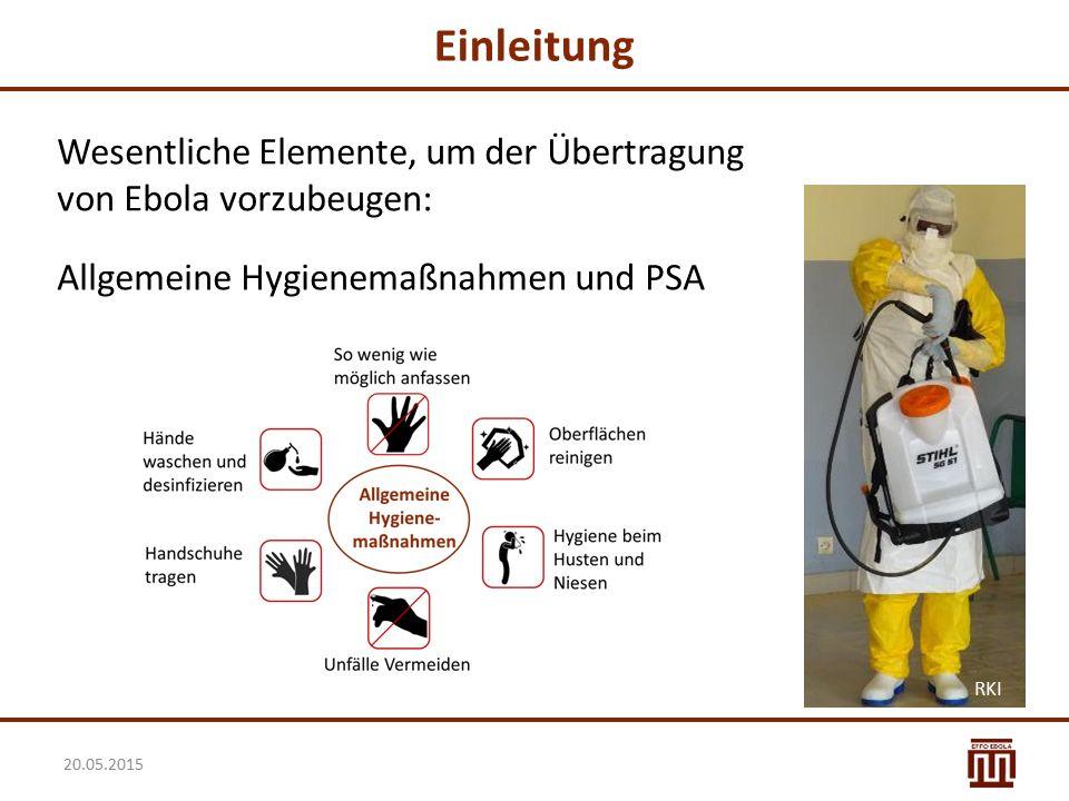 Einleitung Wesentliche Elemente, um der Übertragung von Ebola vorzubeugen: Allgemeine Hygienemaßnahmen und PSA 20.05.2015 RKI