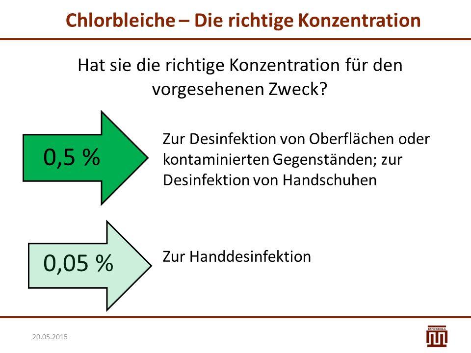 Chlorbleiche – Die richtige Konzentration Hat sie die richtige Konzentration für den vorgesehenen Zweck? Zur Desinfektion von Oberflächen oder kontami