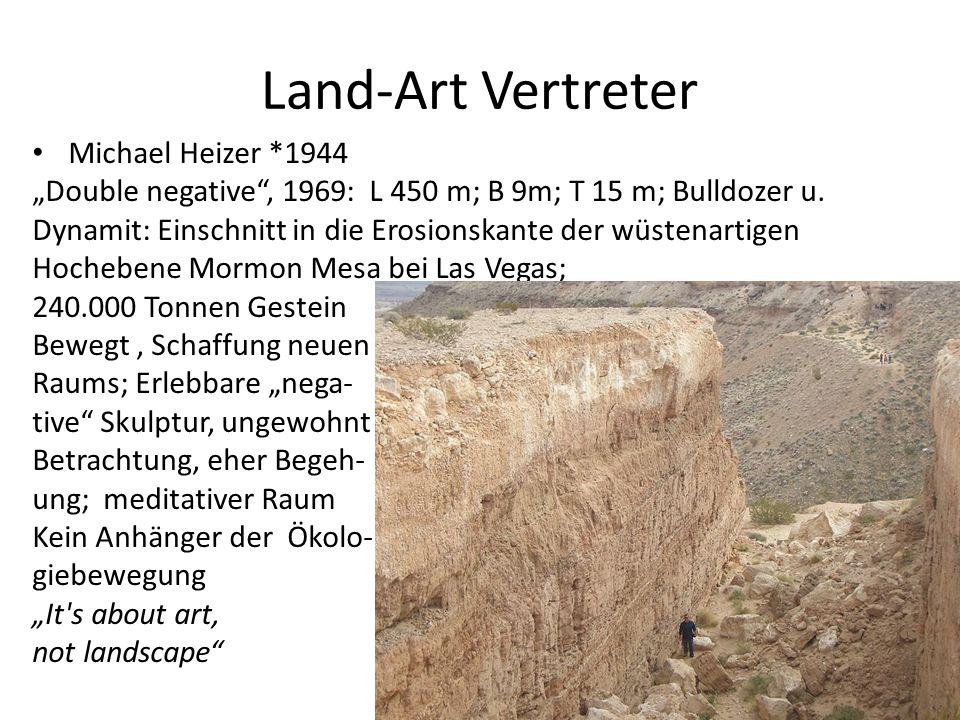 """Land-Art Vertreter Michael Heizer *1944 """"Double negative"""", 1969: L 450 m; B 9m; T 15 m; Bulldozer u. Dynamit: Einschnitt in die Erosionskante der wüst"""